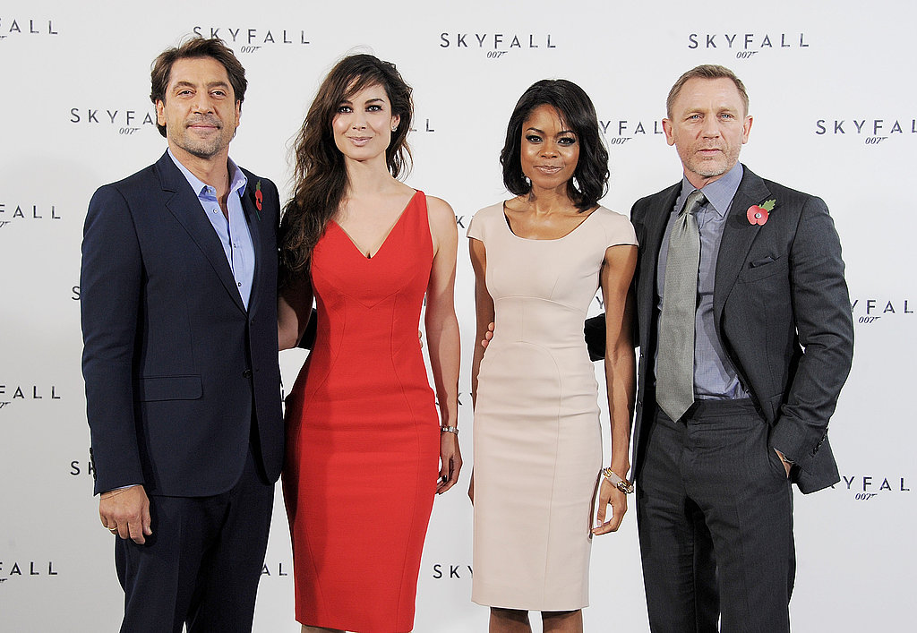 Daniel Craig and Javier Bardem posed with the new Bond girls, Naomie Harris and Berenice Marlohe.