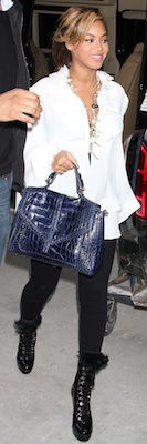 Beyonce Knowles Carrying Blue Crocodile Tory Burch Bag