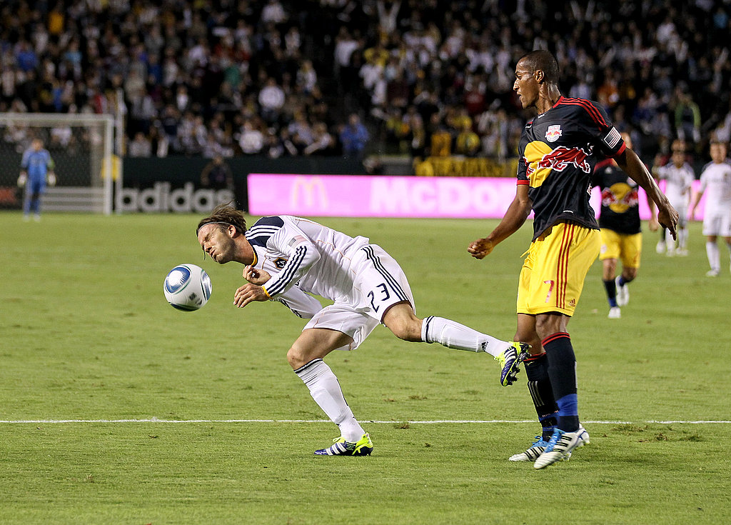 David Beckham went in for a header.