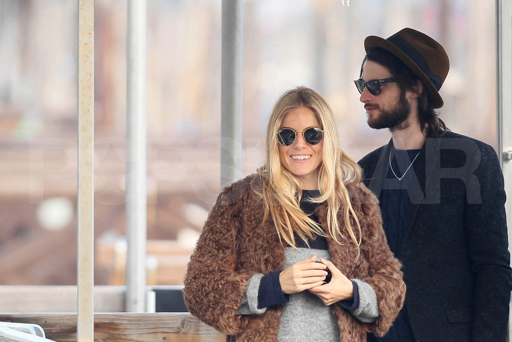 Tom Sturridge and Sienna Miller smiled in Venice.