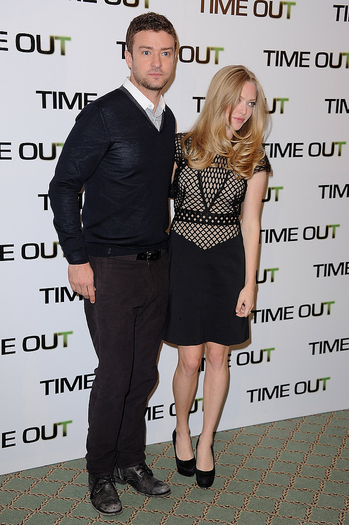 Amanda Seyfried and Justin Timberlake promoting In Time in Paris.