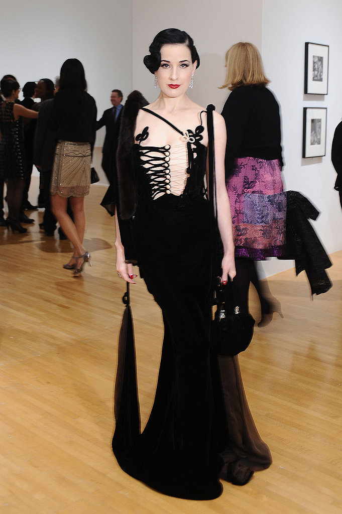 Dita Von Teese in an Edward-Scissorhands-sharp dress.