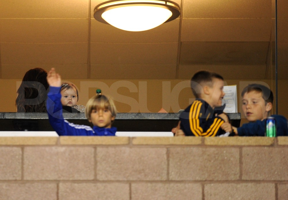 Brooklyn, Romeo, Cruz, and Harper Beckham shared box seating for their dad's big game.