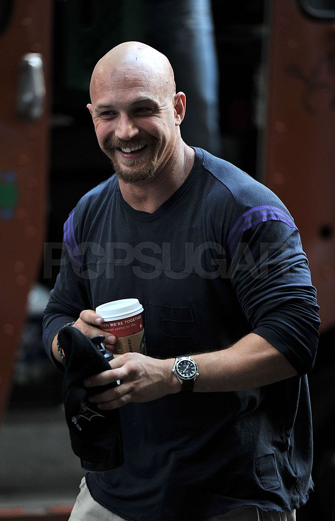 Tom Hardy grabbed a hot drink before getting into costume.