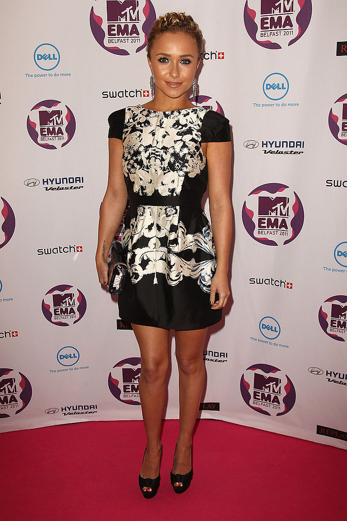Hayden Panettiere went with a classic black and white dress for her presenting duties.