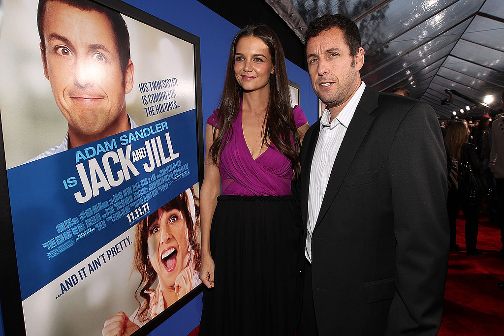 Adam Sandler and Katie Holmes came out to promote Jack and Jill in LA.