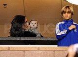 Victoria, Harper, and Romeo Beckham were among David's many fans in the stands.