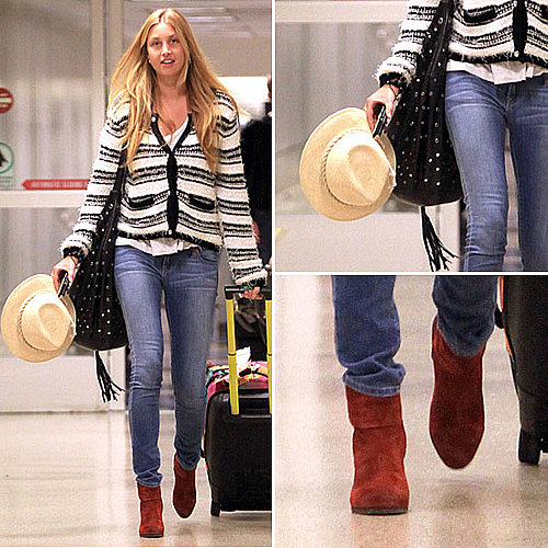Celeb Style: Whitney Port&#039;s Cozy Striped Sweater and Fab Booties