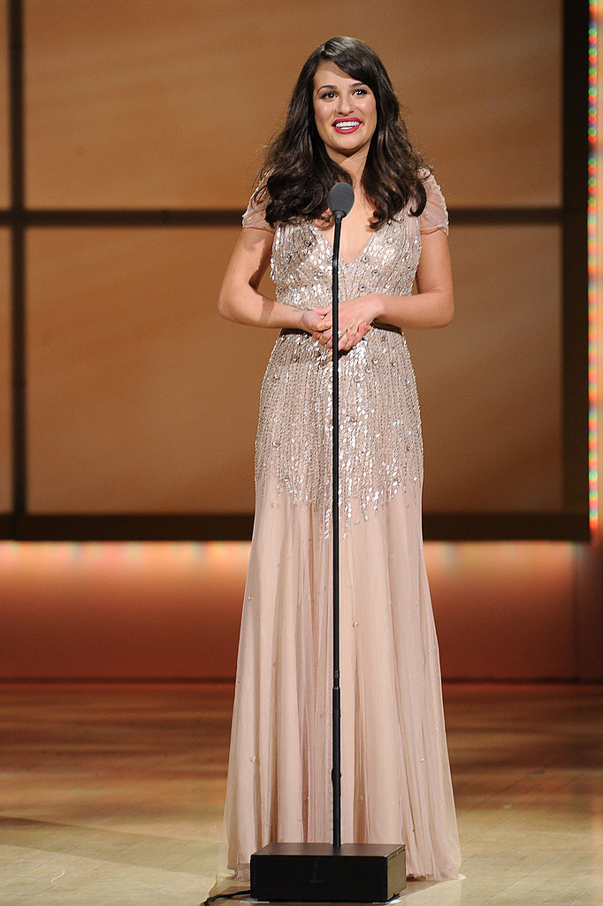 Lea Michele accepted her Woman of the Year award.
