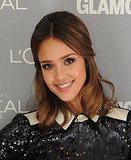 Jessica Alba pushed her hair back at Glamour's Women of the Year awards.