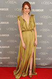 Emma Stone in a flowy number for the 2011 Women of the Year Awards.