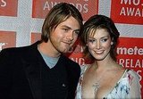 Brian and Delta posed together at the Meteor Ireland Music Awards in Feb. 2005.
