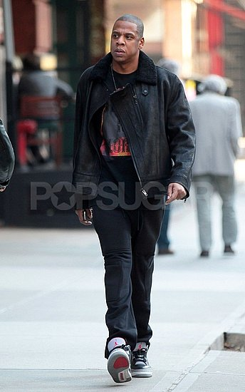 Jay-Z in all black in NYC.