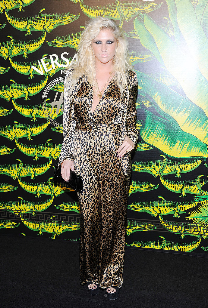 Ke$ha wore animal print on the black carpet.