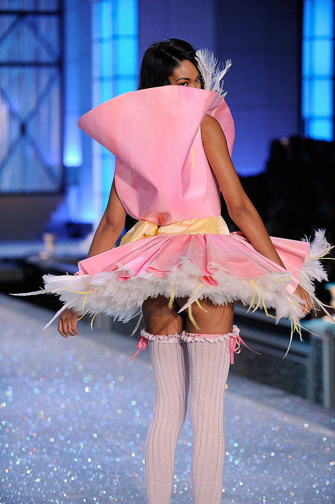 Chanel Iman looked over her shoulder at the 2011 Victoria's Secret Fashion Show.
