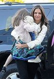 Katie Holmes gave Suri Cruise a lift arriving at a gymnastics class in NYC.