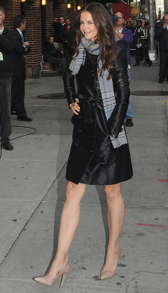 Katie Holmes arrived solo for her interview in NYC.