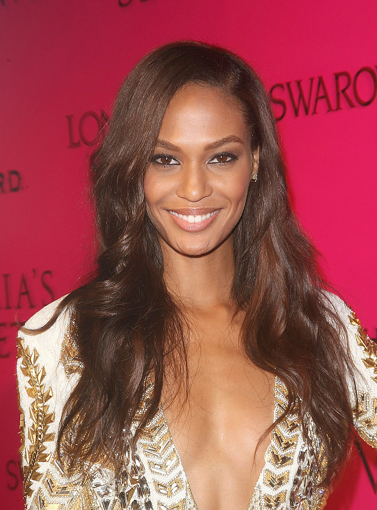 Joan Smalls in a textured dress.