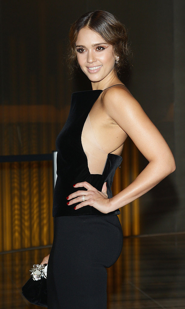 Jessica Alba in a cutout dress at the Armani Hotel opening in Milan.