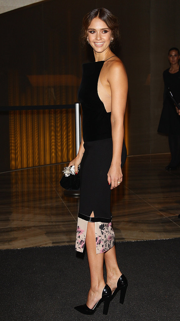 Jessica Alba at the Armani Hotel opening in Milan.