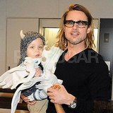 Brad Pitt carried Knox Jolie-Pitt through the airport in Tokyo.