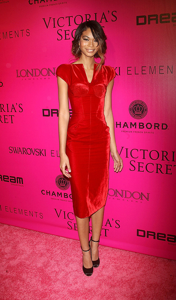 Chanel Iman smiled at the Victoria's Secret afterparty.