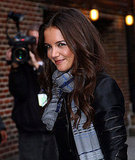 Katie Holmes smiled arriving at The Late Show studios.