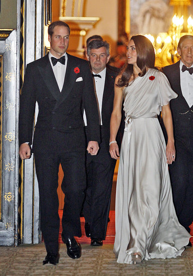 Kate Middleton Wears a One-Shoulder Gown to Host a Black-Tie Dinner With William