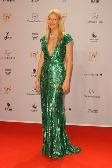 Gwyneth Paltrow Stuns in a Gorgeous Green Plunging Dress at the Bambi Awards