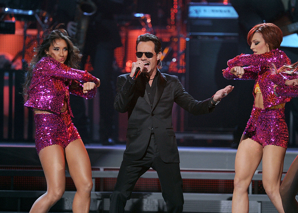 Marc Anthony sang with sexy back-up dancers.