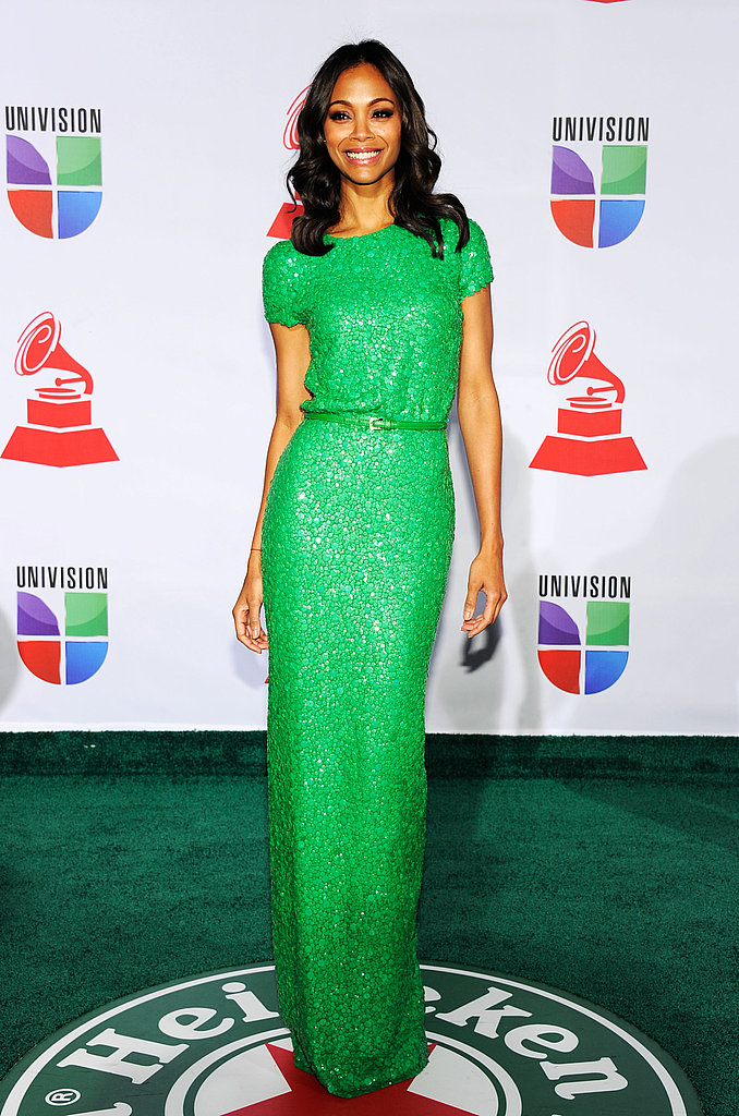 Zoe Saldana in a bright green dress.