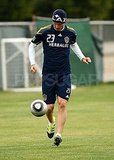 David Beckham practicing soccer in LA.