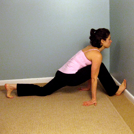 Foot and Hip Flexor Wall Stretch