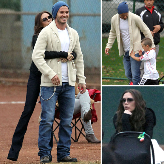 Victoria and David Beckham Cuddle Close Watching Their Boys Play Soccer