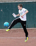 Brooklyn Beckham juggled his soccer ball.