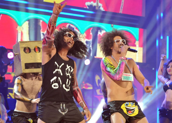 LMFAO wore shorts decorated with smiley faces during their performance.