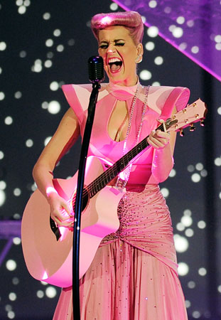 Katy Perry changed into a pink outfit that matched her hair before taking to the stage.