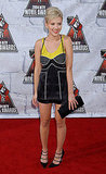 Scarlett Johansson wore a cute minidress and strappy black heels to the MTV Movie Awards in 2004.