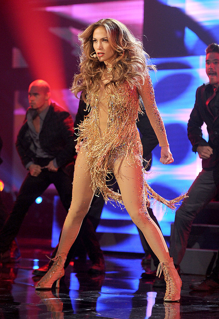 Jennifer Lopez swung her hair around.