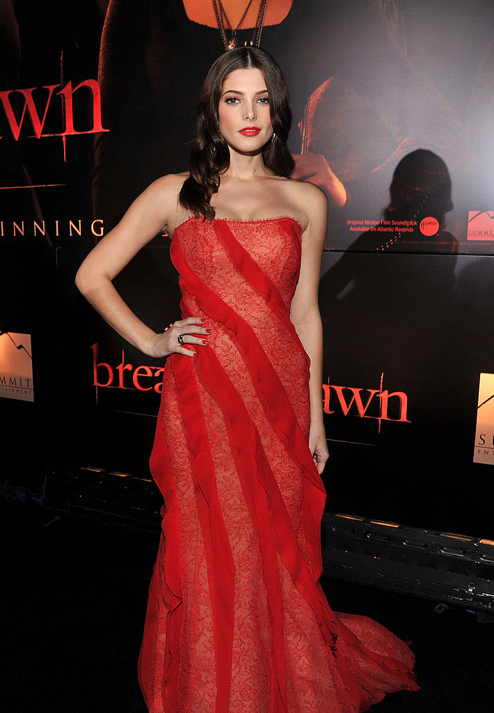 Ashley Greene matched her lipstick to her dress.