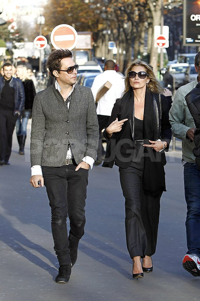 Kate Moss and Jamie Hince both wore sunglasses around Paris.