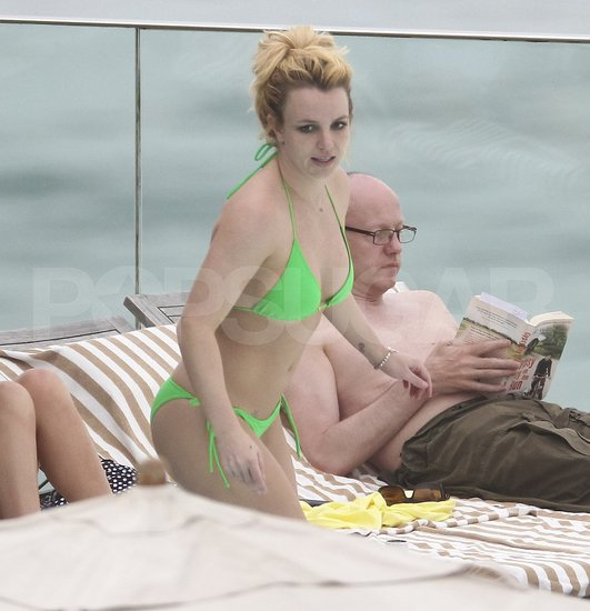 Britney Spears wore a tiny green bikini in Rio.