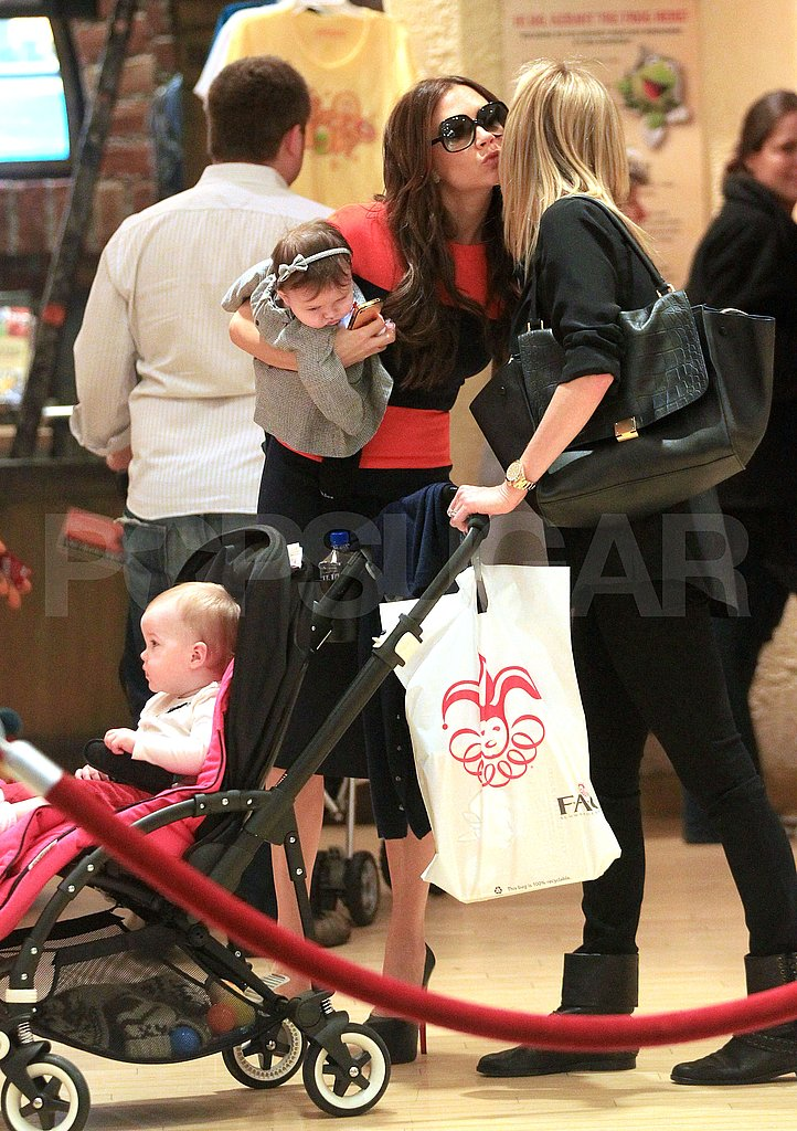 Victoria Beckham shopped at FAO Schwarz with Harper Beckham.