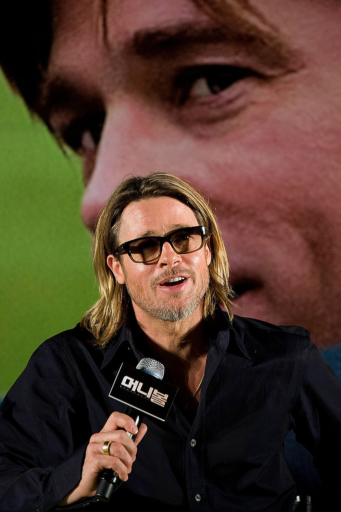 Brad Pitt took the mic in Seoul.