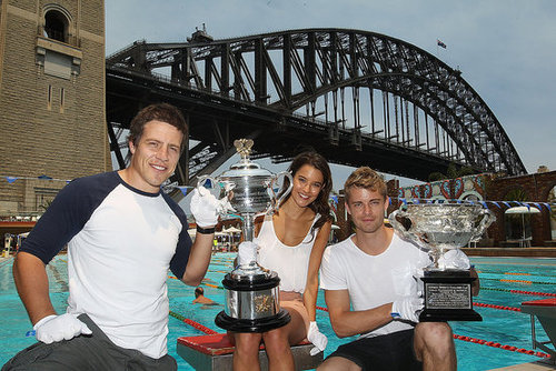 Home and Away Stars Steve Peacocke, Rhiannon Fish and Luke Mitchell with Australian Open Trophies Pictures