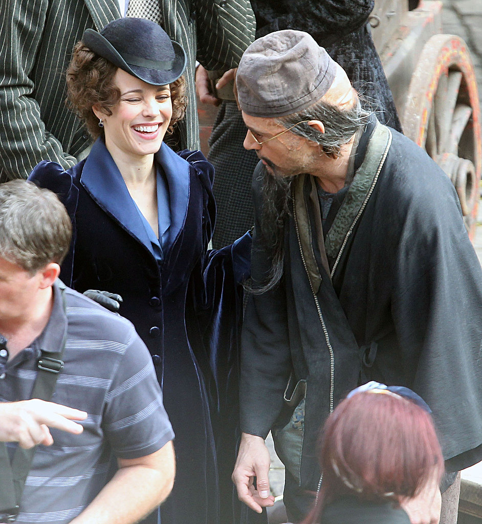 Rachel laughed between takes on the set of Sherlock Holmes: A Game of Shadows in 2011.