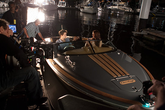Edward and Bella filmed aboard a boat during their romantic honeymoon.