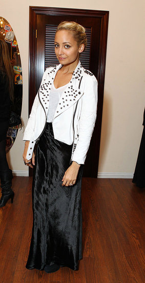 Nicole Richie Pops Up in White Leather to Support a Pal
