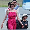 Angelina Jolie and Kids Boarding Private Plane Pictures