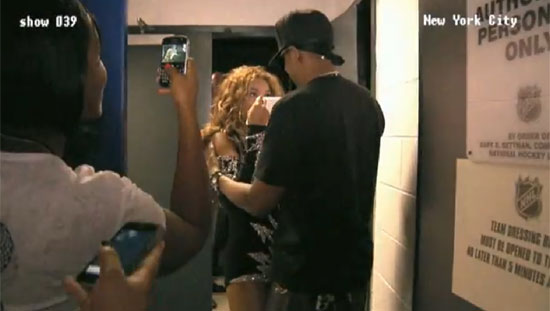 Beyoncé Knowles was surprised to see her husband Jay-Z after a NYC show.